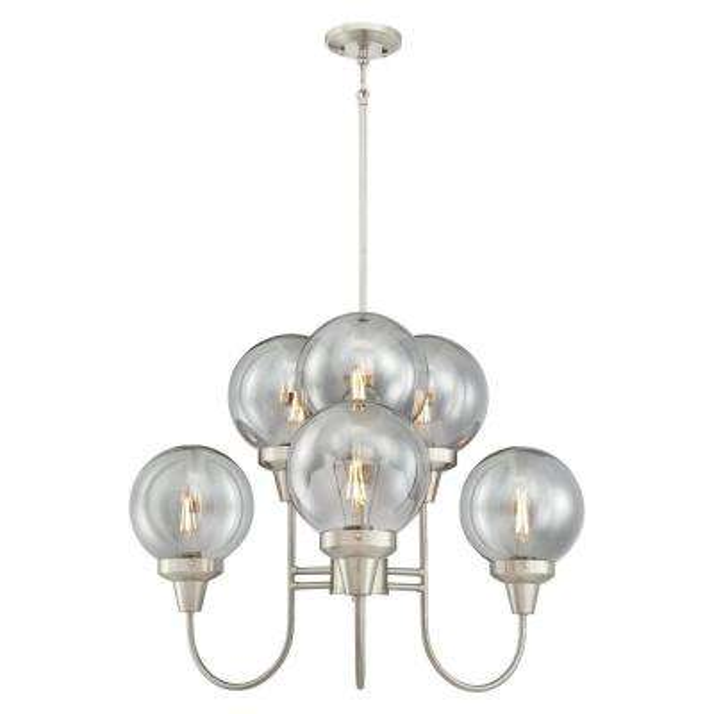 Byron 6-Light Brushed Nickel Chandelier with Smoke Grey Glass Globes