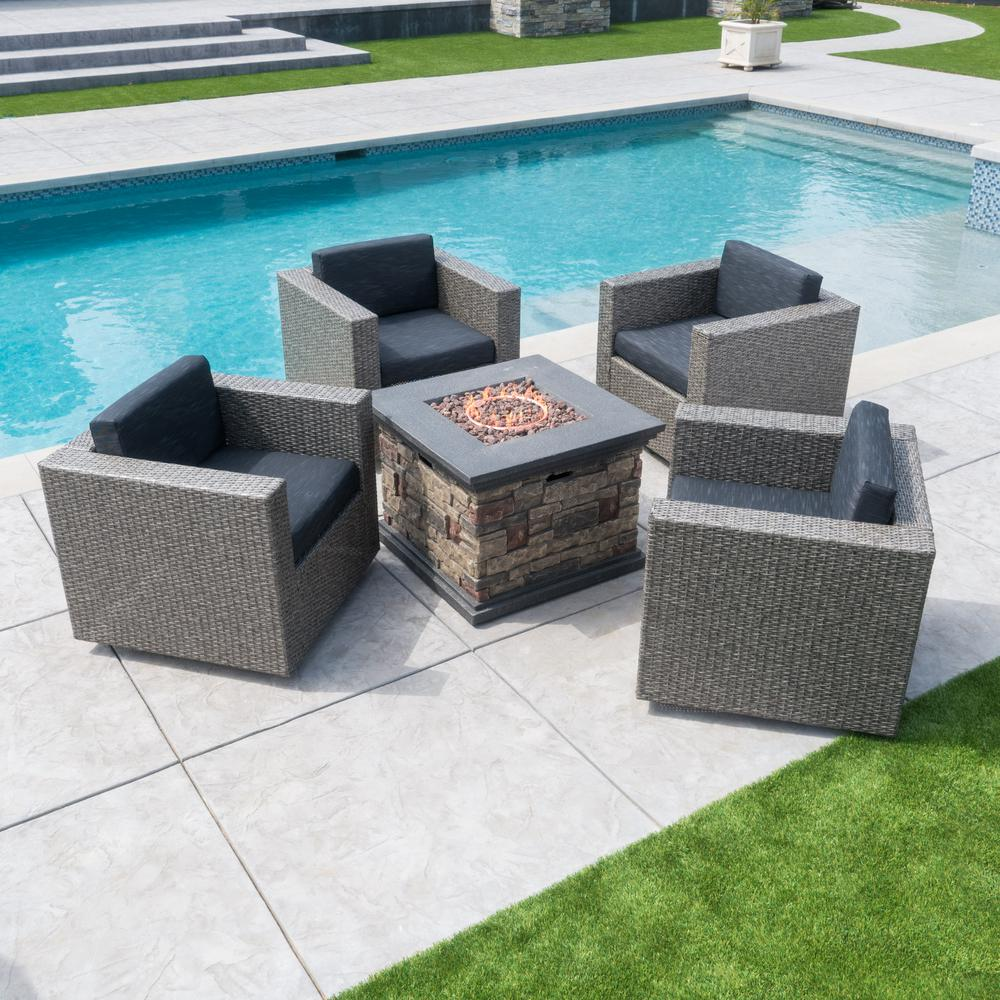 Noble House Puerta Black 4-Piece Wicker Patio Fire Pit Seating Set with Dark Grey Water Resistant Cushions