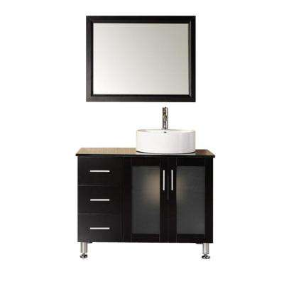 Malibu 39 in. W x 22 in. D Vanity in Espresso with Tempered Glass Vanity Top and Mirror in Black