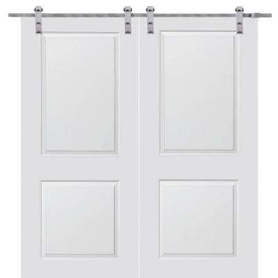 72 In. X 80 In. Primed Composite Cambridge Smooth Surface Solid Core Double  Door