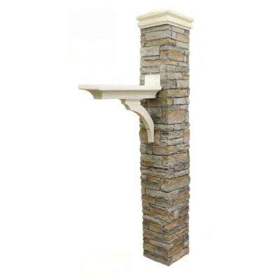 Gray Stacked Stone Brace and Curved Cap Mailbox Post