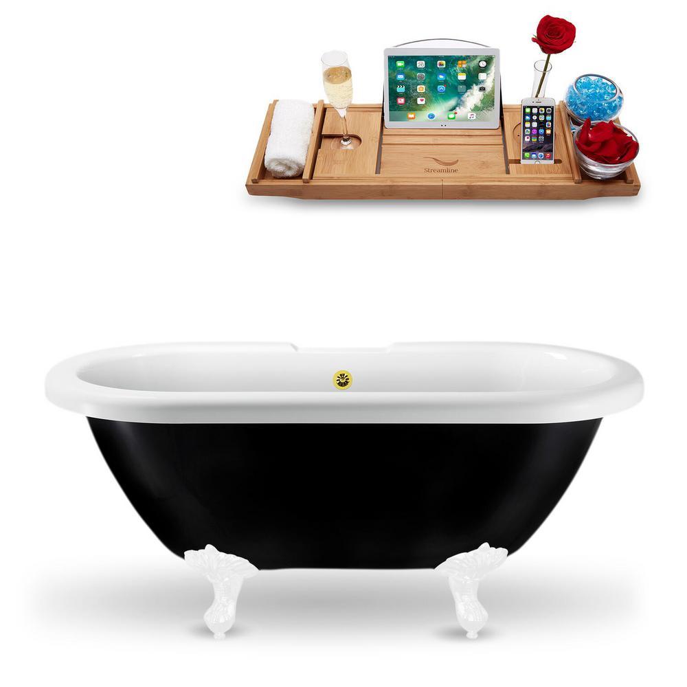 59.1 in. Acrylic Fiberglass Clawfoot Non-Whirlpool Bathtub in Black
