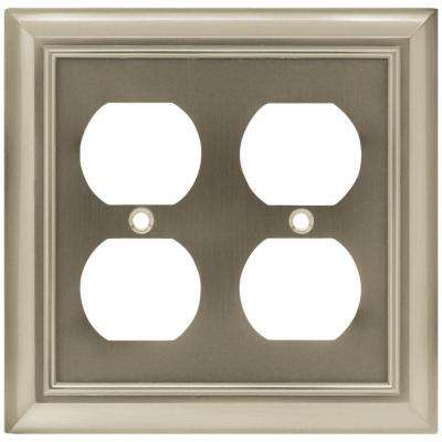 Architectural Decorative Double Duplex Outlet Cover, Satin Nickel