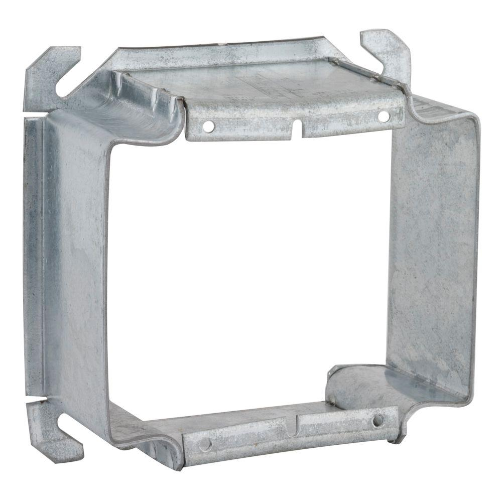 RACO 4 in. Square Two Device Mud Ring, Raised 2 in. (25-P...
