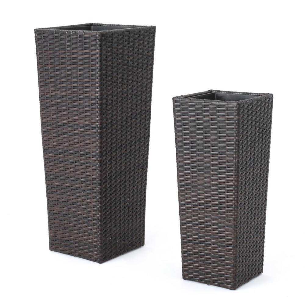 225 & Noble House Randy 32 in. and 24 in. Multibrown Wicker Flower Pot (2-Pack)