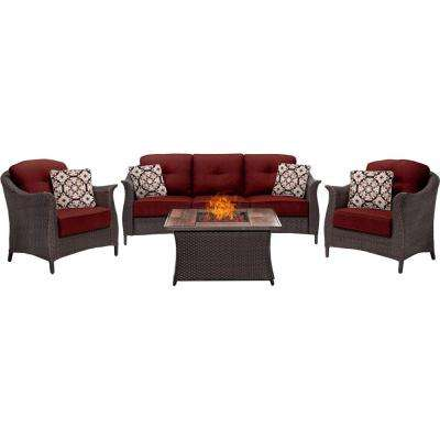 Gramercy 4-Piece Woven Patio Seating Set with Wood Grain-Top Fire Pit and Premium Sunbrella Crimson Red Cushions