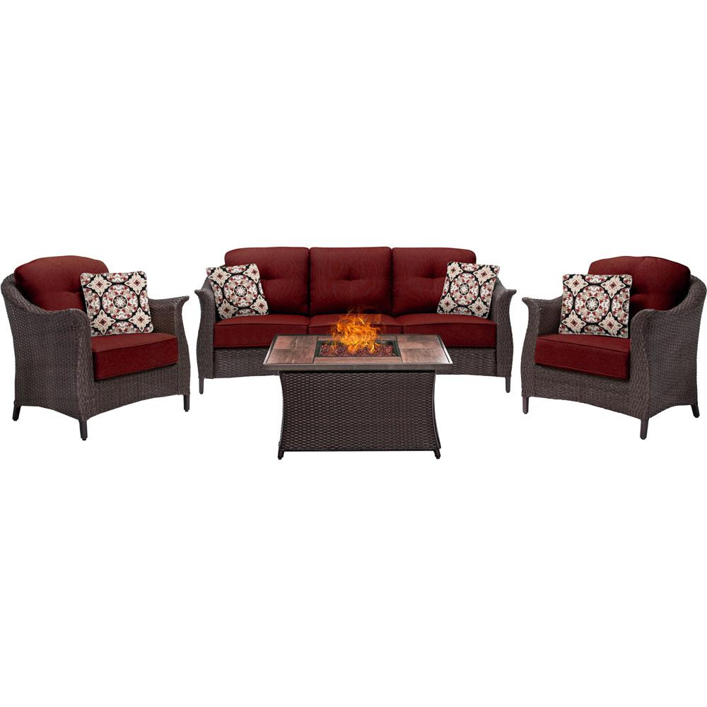 Hanover Gramercy 4-Piece Woven Patio Seating Set with Wood Grain-Top Fire Pit and Premium Sunbrella Crimson Red Cushions