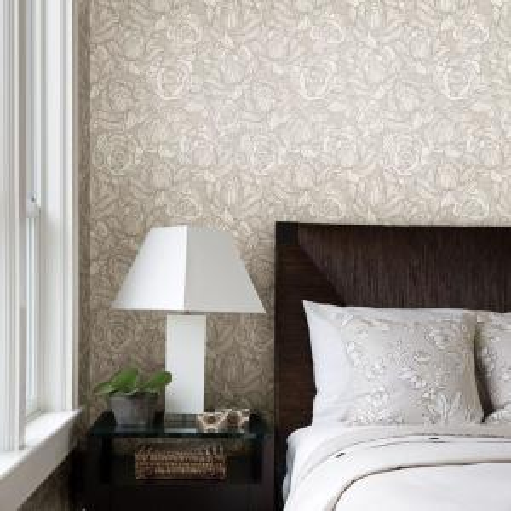 Beacon House-Calista Beige Modern Rose Wallpaper