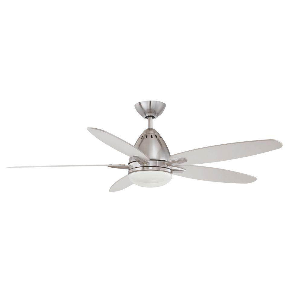 satin nickel designers choice collection ceiling fans ac19452 sn 64_1000 hugger 52 in led indoor brushed nickel ceiling fan with light kit  at bakdesigns.co