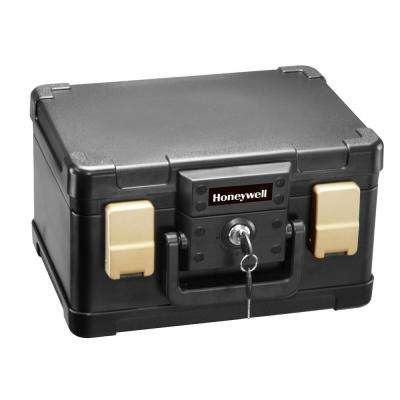 0.15 cu. ft. Molded Fire Resistant and Waterproof Portable Chest with Carry Handle, Key and Double Latch Lock