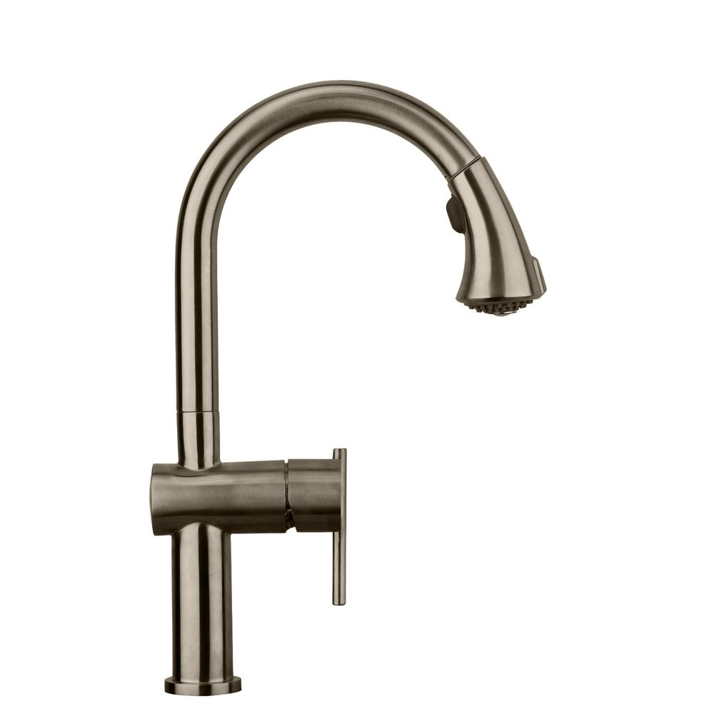 Whitehaus Collection Waterhaus Single Handle Pull Down Sprayer Kitchen  Faucet In Brushed Stainless Steel