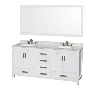 Wyndham Collection Sheffield 72 inch Double Vanity in White with Marble Vanity Top in Carrara White and 70 inch Mirror by Wyndham Collection