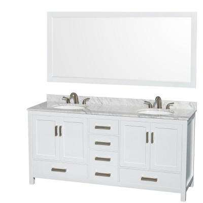Sheffield 72 in. Double Vanity in White with Marble Vanity Top in Carrara White and 70 in. Mirror