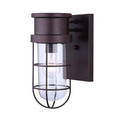 Brooklyn 1-Light Oil-Rubbed Bronze Outdoor Wall Light with Wire Cage and Clear Glass