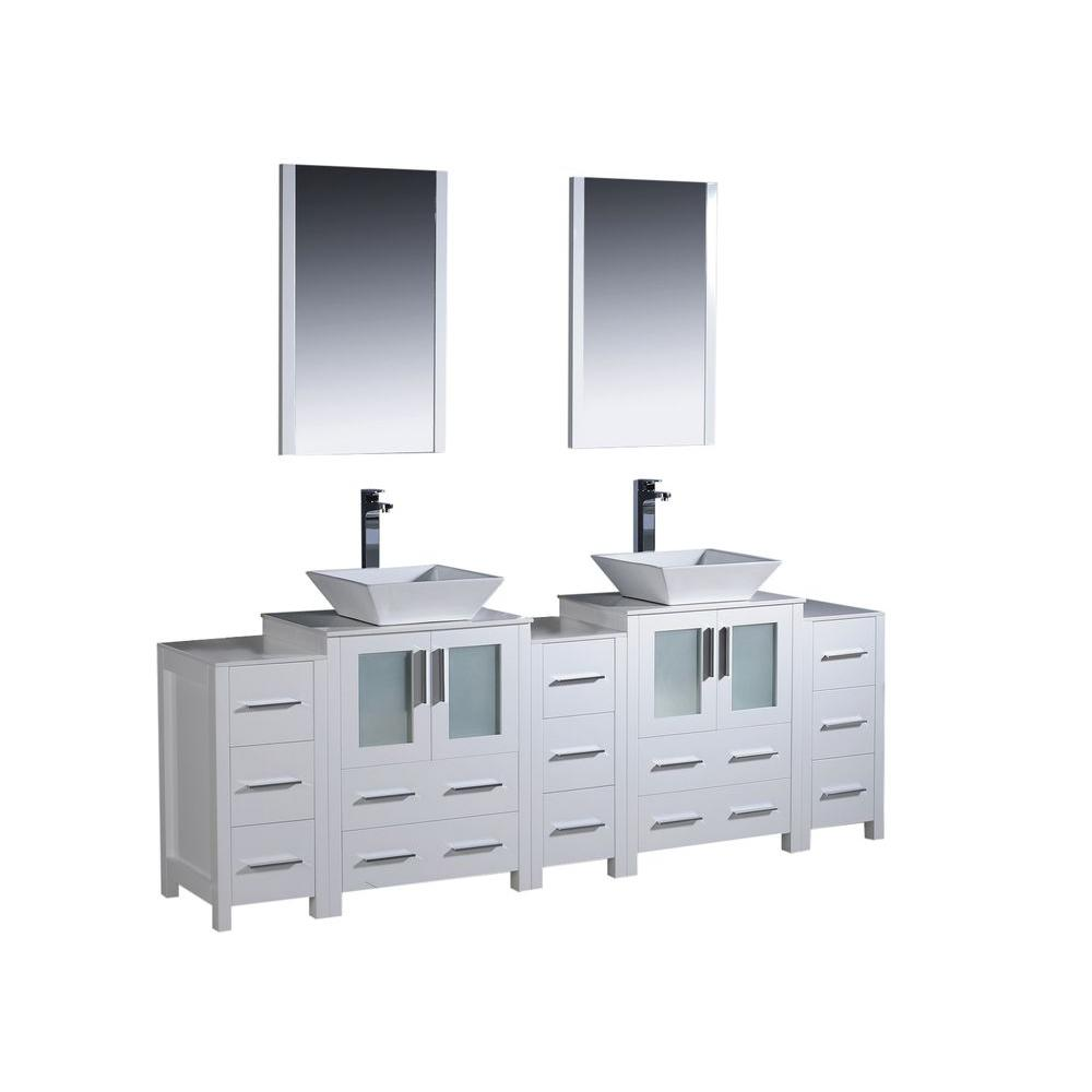 Fresca Torino 84 in. Double Vanity in White with Glass Stone Vanity Top in White with White Basin and Mirrors