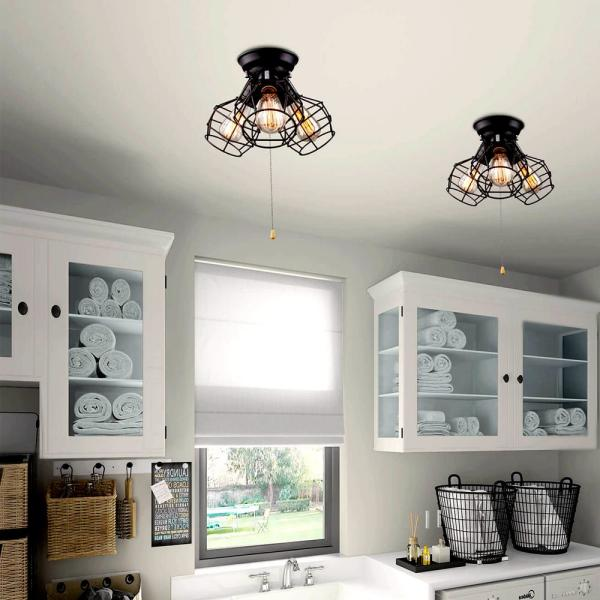 Laluz Creative 3 Light Modern Industrial Cage Black Semi Flush Mount With Pull String Convertible To Wall Mount Lljuuehl13150mu The Home Depot