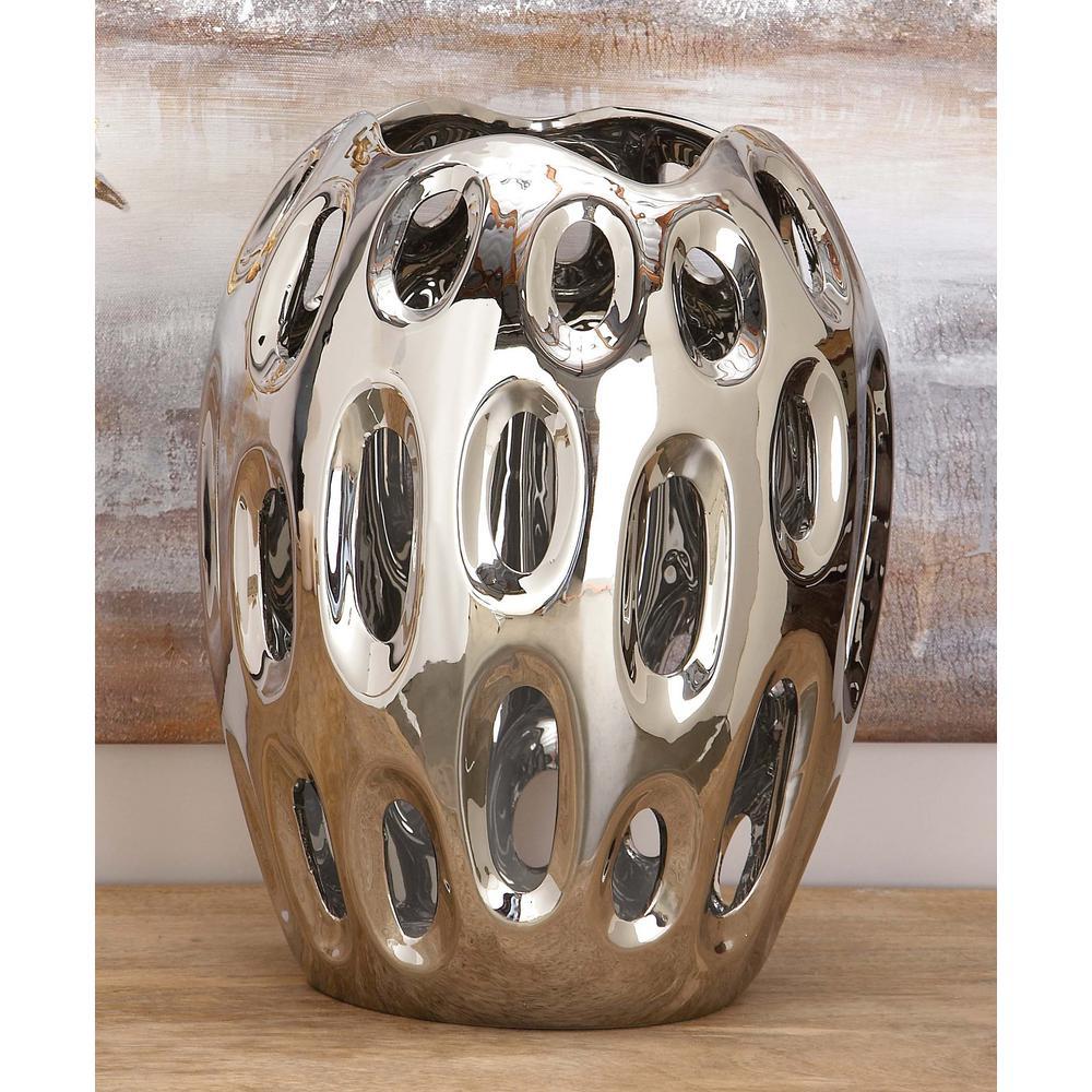 13 in. Sunken Oval Lacquered Silver Ceramic Decorative Vase