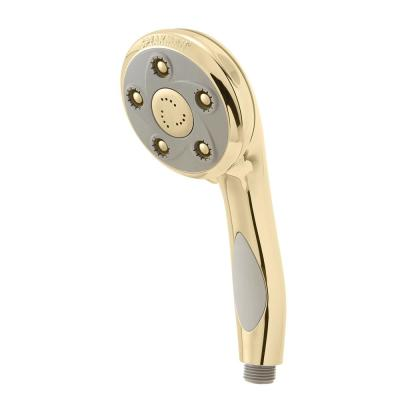 3-Spray 3.8 in. Single Wall Mount Handheld Adjustable Shower Head in Polished Brass
