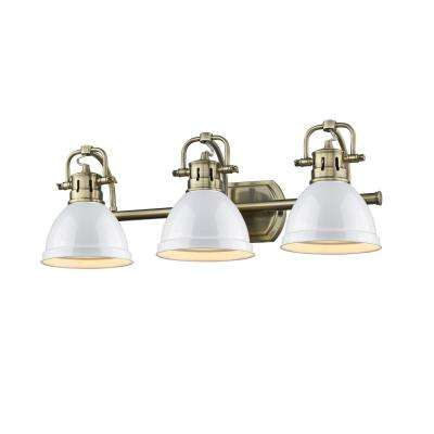 Duncan AB 3-Light Aged Brass Bath Light with White Shades