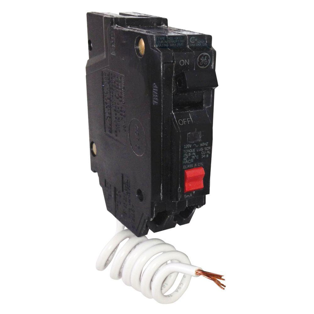 GE 15 Amp Single Pole Ground Fault Breaker with Self-Test