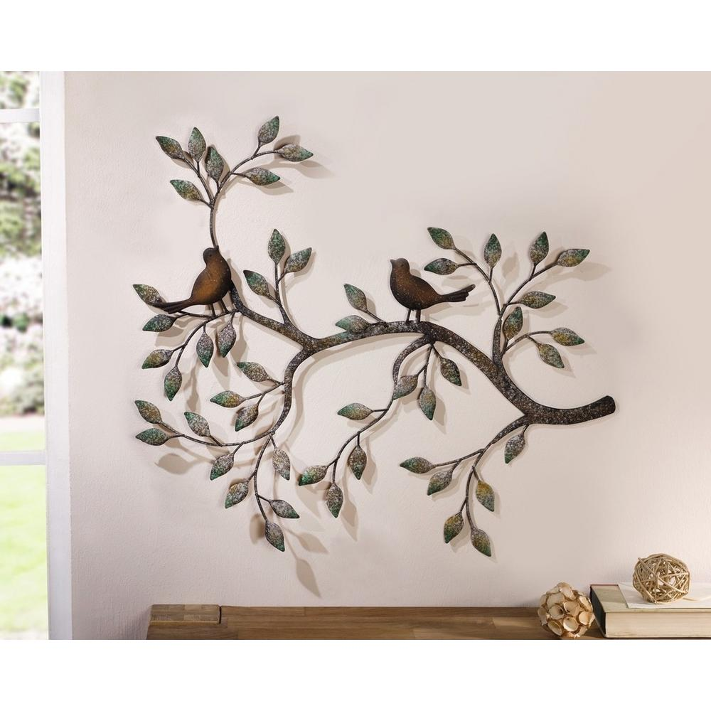 24 in x 18 5 in metal branches w birds and leaves for Wanddeko outdoor