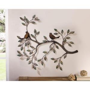 24 inch x 18.5 inch Metal Branches w/ Birds and Leaves Decorative Wall Sculpture by