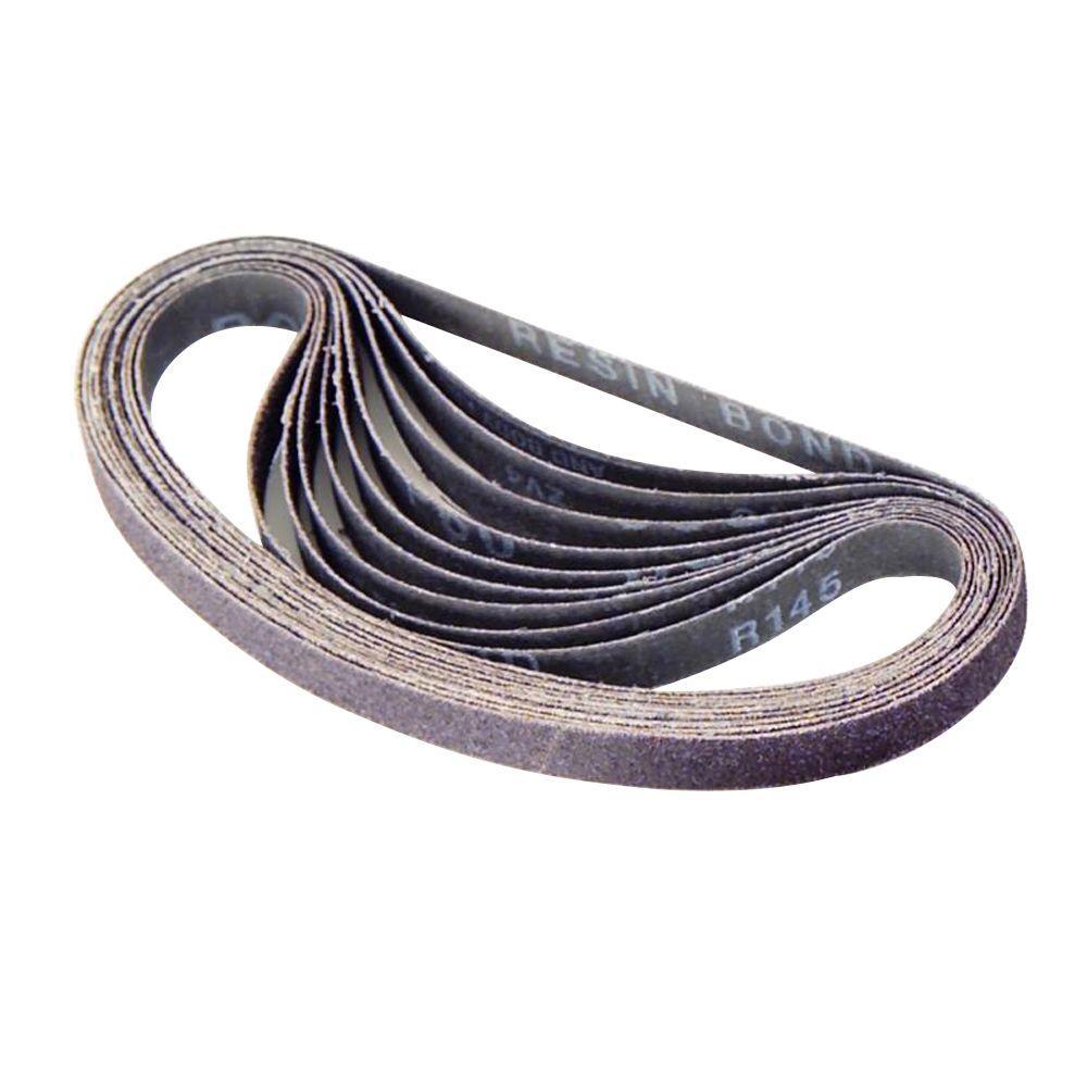 1/2 in. x 24 in. 120-Grit Aluminum Oxide Sanding Belt (10-Pack)