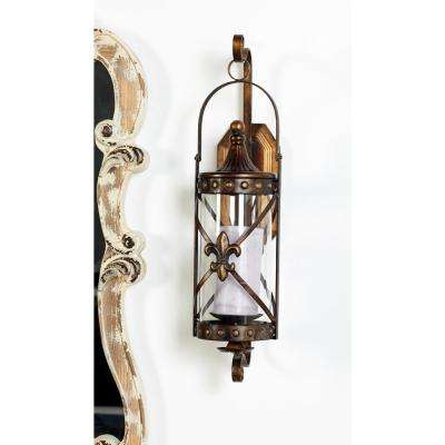 Old World Riveted Burnished Bronze Iron Candle Sconce