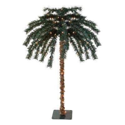 4.5 ft. Pre-Lit Tropical Outdoor Summer Patio Artificial Palm Tree with Clear Lights