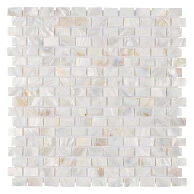 Conchella Subway White 11-1/2 in. x 11-3/4 in. x 2 mm Natural Seashell Mosaic Tile