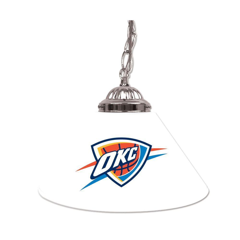 Trademark Oklahoma City Thunder NBA 14 in. Single Shade Stainless Steel Hanging Lamp