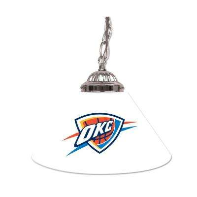Oklahoma City Thunder NBA 14 in. Single Shade Stainless Steel Hanging Lamp