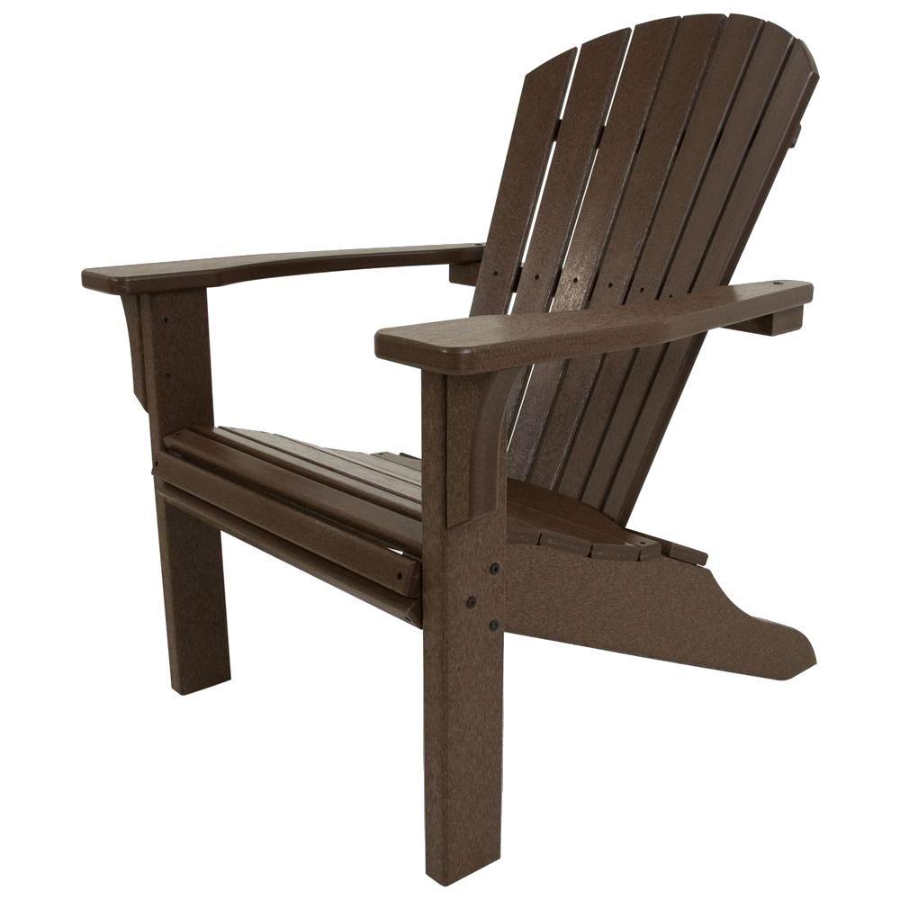 Seashell Mahogany Plastic Patio Adirondack Chair