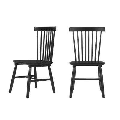 StyleWell Black Wood Windsor Dining Chair (Set of 2) (19.50 in. W x 35 in. H)