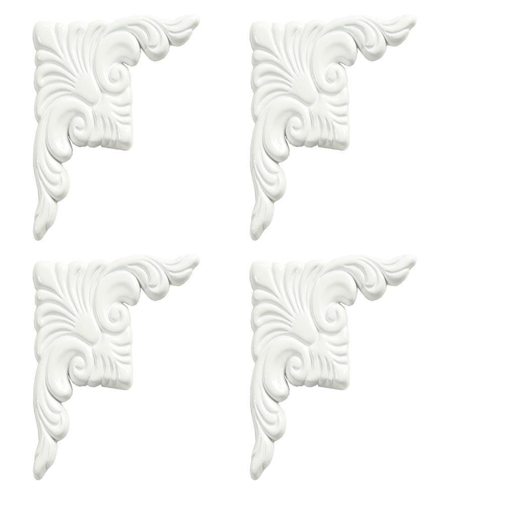 MirrEdge Dove White Decorative Corner Plates (4-Pack)