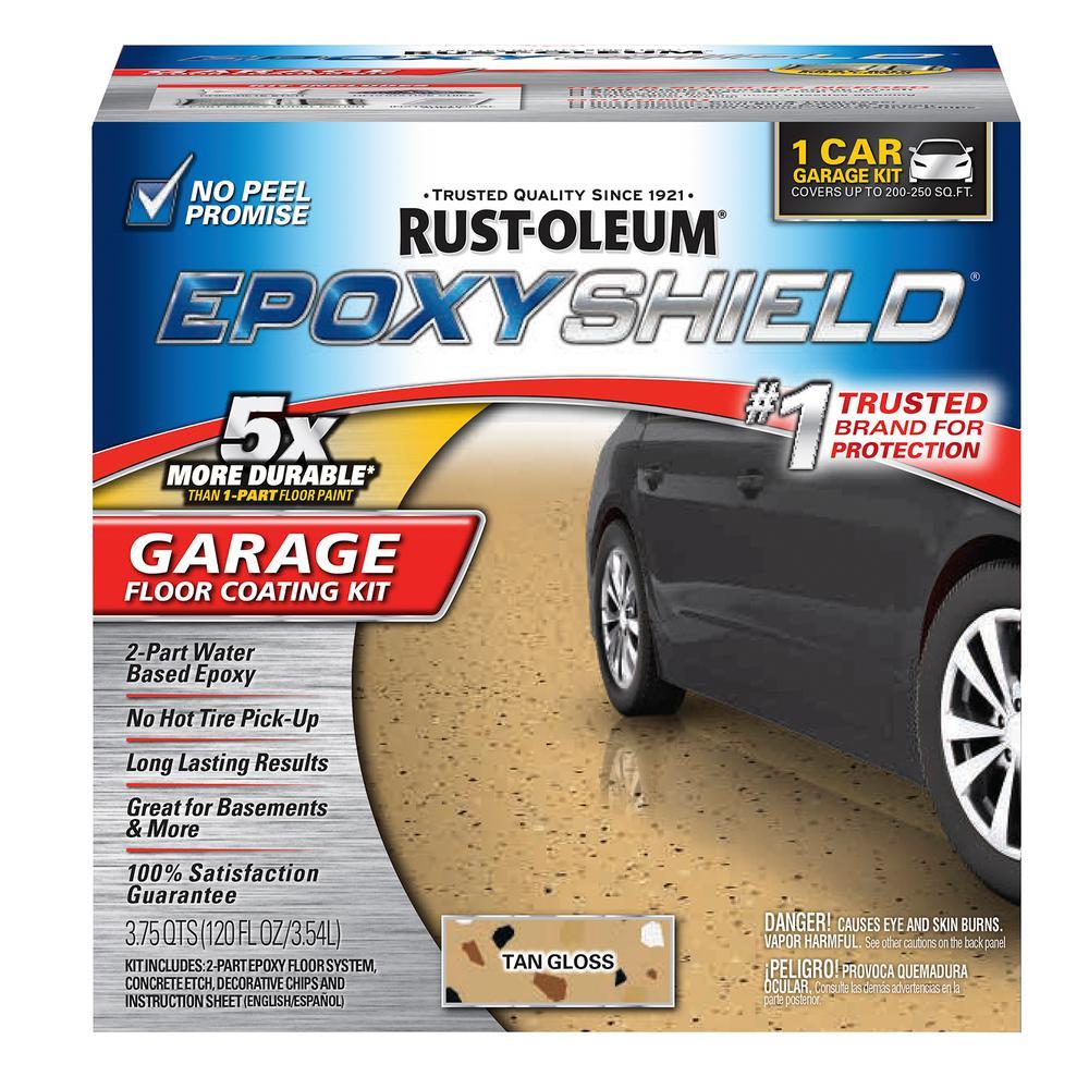 Rust Oleum Epoxyshield 1 Gal Tan Garage Floor Epoxy 2 Pack 251966 The Home Depot