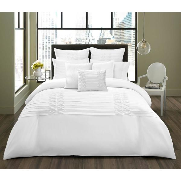 Triple Diamond White 3-Piece Microfiber Comforter/Sham Set, King