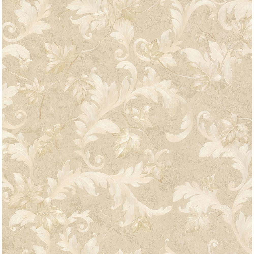 Brewster Dimitri Beige Scroll Wallpaper Sample