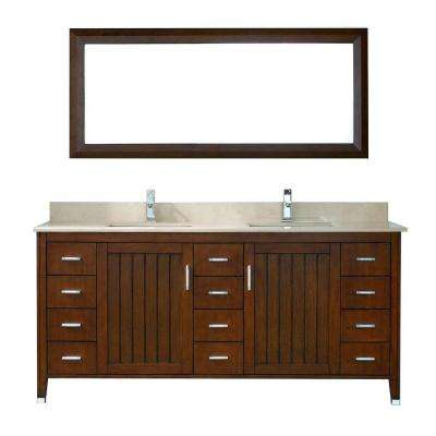 Jackie 72 in. Vanity in Classic Cherry with Marble Vanity Top in Beige and Mirror