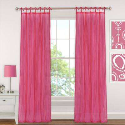 Sheer Greta  84 in. L Crushed Sheer Tie Loop Curtain in Pink