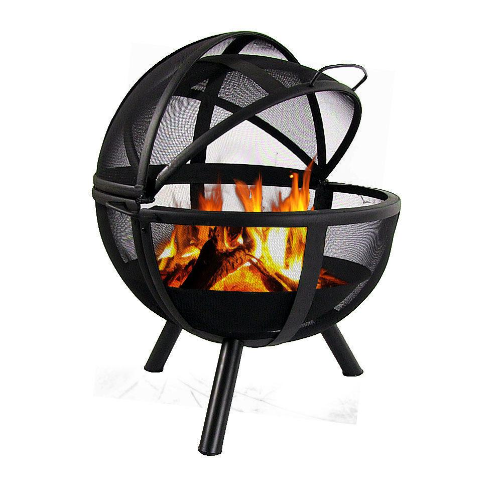 Pick Your Size Unique Dome Sunnydaze Round Metal Fire Pit Screen with Handle...