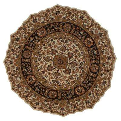 Masterpiece Beige and Black 8 ft. Round Area Rug