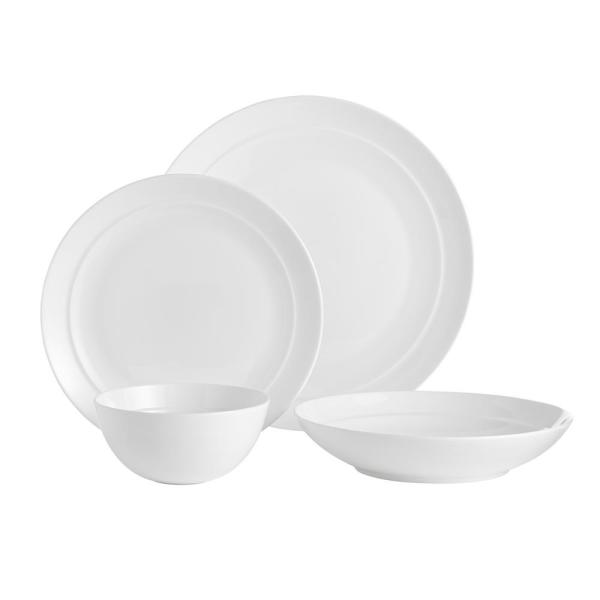 Gatherings 16-Piece Casual White Bone China Dinnerware Set (Service for 4)
