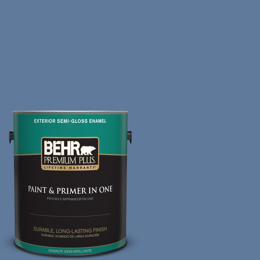 1 gal. #PPU14-02 Glass Sapphire Semi-Gloss Enamel Exterior Paint
