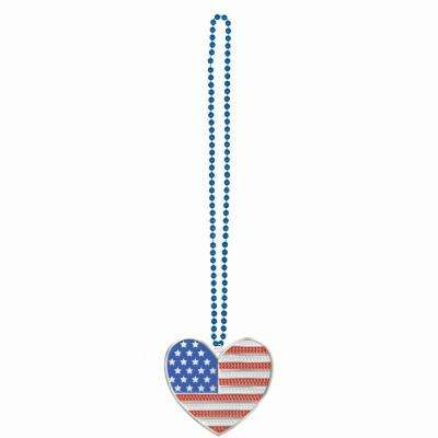 36 in. USA Bling Heart Necklace (3-Pack)