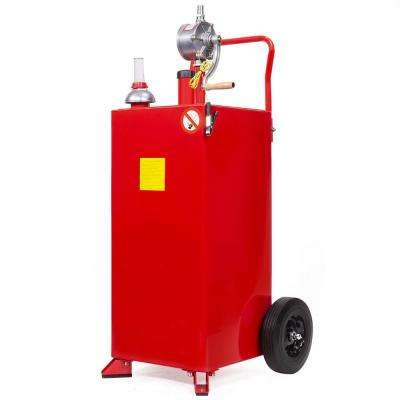 30 Gal. Portable Gas Caddy Fuel Transfer Storage Tank Rolling Gas Can with Rotary Pump Auto