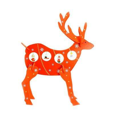 13 in. Decorative Red Wooden Reindeer Cut-Out Christmas Table Top Decoration