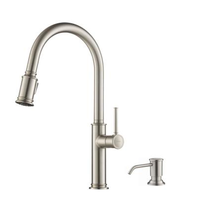 Sellette Single-Handle Pull-Down Sprayer Kitchen Faucet with Deck Plate and Soap Dispenser in Spot Free Stainless Steel