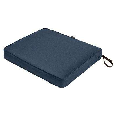 Montlake Heather Indigo Blue 21 in. W x 19 in. D x 3 in. Thick Rectangular Outdoor Seat Cushion