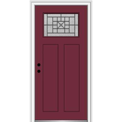 36 in. x 80 in. Courtyard Right-Hand 1-Lite Decorative Craftsman 2-Panel Painted Fiberglass Smooth Prehung Front Door